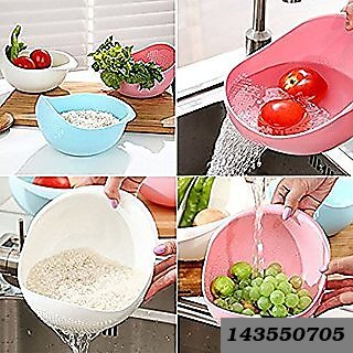Big Size Plastic Grains & Vegetable Washing Bowl & Strainer (Assorted Colour)