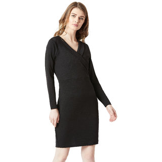 d47b13fc5a Buy Miss chase Women s Black V-Neck Full Sleeve Solid Knitted Bodycon  Knee-Long Wrap Dress Online - Get 30% Off