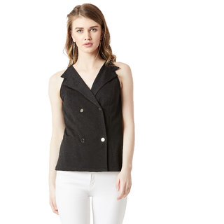 Miss Chase Women's Black V-Neck Sleeveless Solid Collared Double Breasted Blazer Top