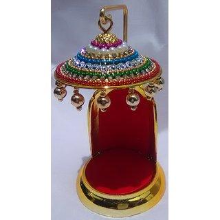 Shri Sarjana Vedic Sinhasan Golden Copper plus Red Welvet