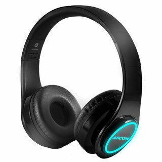 Adcom Luminosa - Wireless Bluetooth LED  Headset/Headphone with Mic  LEDs for All Smartphones  IPhones - (Black)