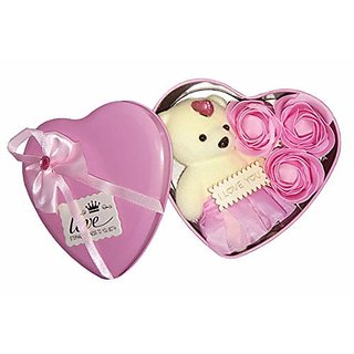 Heart-Shaped Box with Teddy and Roses Unique Valentine's Gift for Love Ones (Pink)