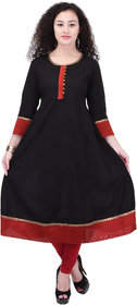 AYAN Solid Cotton Anarkali With Contrast bottom & sleeve lace