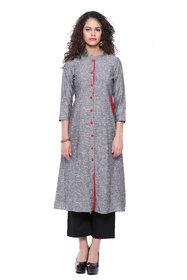 AYAN Grey& Red 3/4 Sleeve Casual Wear A-line Kurta