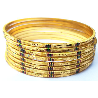 8 GOLD PLATED MEENA BANGLES SIZE 2.6