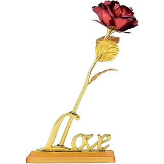 Valentine Gift Golden Rose 24k Red Rose-Artificial Flower Gift Set 25cm-Without Box