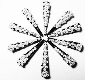 KEJO A Pair of White Stoned Alligator Clips for Girls/ Kids/ Baby Girls/women Hair Clip