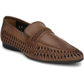 El Paso Men's Brown Weved Designer Casual Loafers Shoes