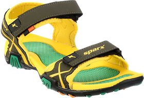 a32b2980353e Sparx Men s SS-451 Olive Yellow Casual Sandals Floaters