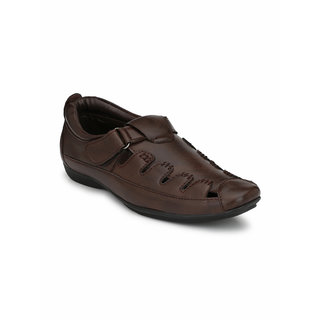 El Paso Men's Brown Slip On Velcro Casual Sandals