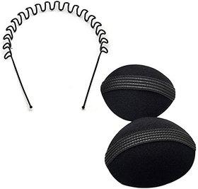 Maahal Set of 2, Hair Puff Maker 1 Set and Zig Zag Wavy Hair Band, Hair Accessory Set (Black)