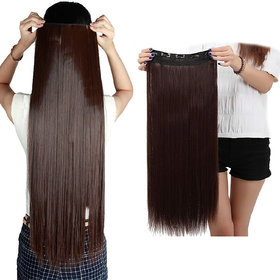 Maahal 26-Inch 5 Clip Based Synthetic Fashion Hair Extension / Hair Wig / Dark Brown Hair Accessories