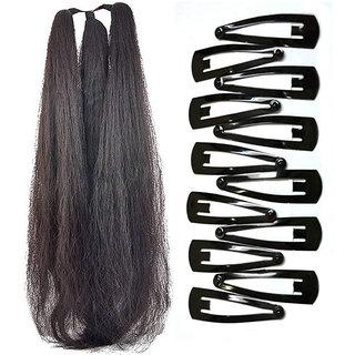 Maahal 42 Inchs Hair Parandi with 12 Hair Clips Black