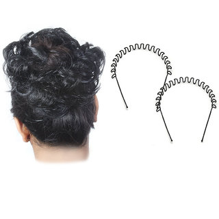 Maahal Black rubber Juda For Women with Free Zig Zag Hair Band
