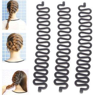 Maahal 3PCS Fashion French Hair Styling Clip Stick Bun Maker Braid Tool Hair Accessories Twist Plait Hair Braiding Tool (Black)