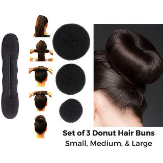 Maahal Combo of Women Hair Accessories (3 Donut + 1 Hair Base Set) For Women and Girls