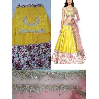 Yellow and Ivory Wedding Wear Embroidered Bhagalpuri Anarkali Style Ghagra Choli