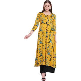 Lopa Women's Flared Long Printed Stylish Mustard Kurta