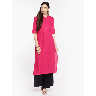 Swaron Pink Slub Cotton Buttons Solid Kurta with Foldup Sleeves