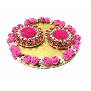 Loops n Knots Pink  Golden Wedding Ring Platter/Tray/Engagement Ring Platter/Holder/Box with 2 Ring Holder