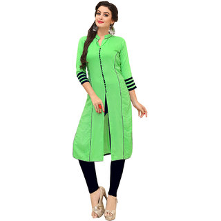 SHOPONBIT present Thread embroidered Light GreenBlue color fabric rayon  kurti for women's in ethnic wear