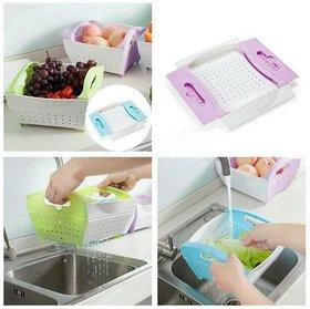 ROYALDEALSHOP Fresh Plastic Colorful Rinse Fruit Vegetables Basin Wash Rice Sieve Bowl Drainer Kitchen Basket
