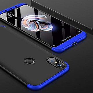 Redmi A2 Front Back Case Cover Original Full Body 3 in 01 Slim Fit Complete 3D 360 Degree Protection Black Blue