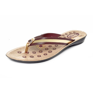 Gymsym women's casual sandal(V SHAPE -7 Mrn golden)