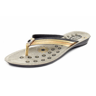 Gymsym women's casual sandal(v shape b.k golden)