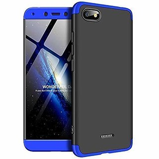 Redmi 6A Front Back Case Cover Original Full Body 3 in1 Slim Fit Complete 3D 360 Degree Protection Black Blue