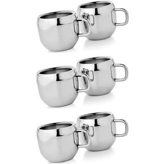 LiMETRO Set of 6 Stainless steel Tea cup Stainless Steel  (Silver, Pack of 6)
