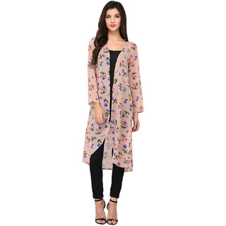 Floral printed long fountain shrug