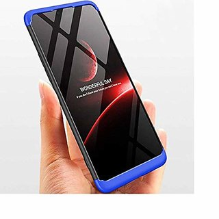 OPPO A3S Front Back Case Cover Original Full Body 3 in 1 Slim Fit Complete 360 Degree Protection Black Blue