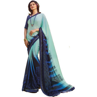 9a94815a4a Buy ZEBEX WOMENS GREEN SILK AND GERGETTO DISIGNED SAREE WITH BLOUSE PIECE (  A30 sky blue) Online - Get 73% Off