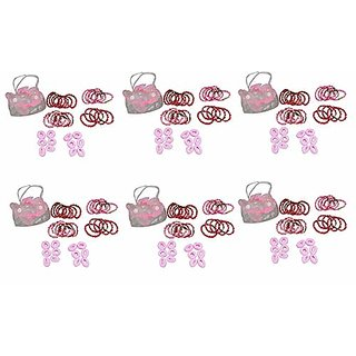 AVMART Set of 6 Pink Rubber Bands for Baby, Girl, Gift Set with Ribbon Packing (432 Pcs)