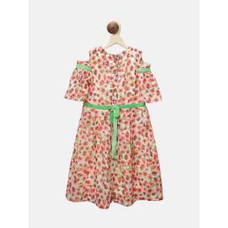First Kick multi colored polyester gown For Girl's