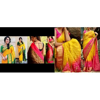 Sharda Creation Multicolour  Bhagalpuri silk saree  Combo saree