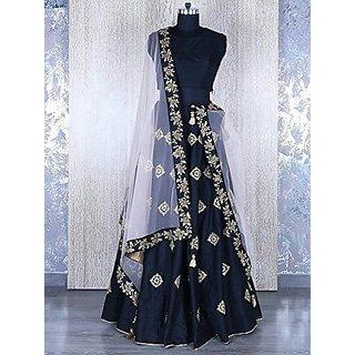 Women Wed Navy Blue Color Embroidered Women S Wedding Wear Lehenga Choli Semi Stitched Free Size