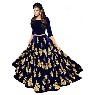 F Plus Fashion Women's Heavy Embroidered Wedding Wear Semi Stitched Lehenga Choli
