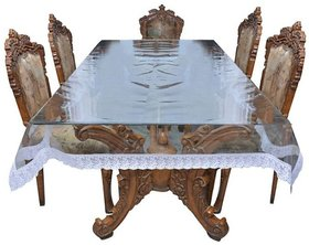 BcH Dining Table Cover With Silver Lace (6 SEATERTransparent )