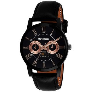 Mark Regal Round Dail Black Leather Strap Analog Watch For Men(MR073)