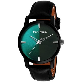 Mark Regal Round Dail Black Leather Strap Analog Watch For Men