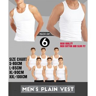 PACK OF 6 FITNESS SOLID WHITE TO WHITE VEST FOR MEN (FULL COTTON)