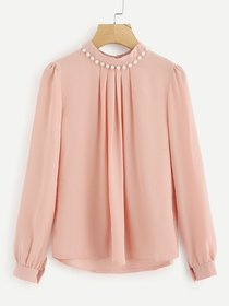 Code Yellow Women's Pink Casual Full Sleeves Pearl Top