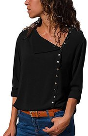 Fabrange  Fashion Long Sleeve Women Blouses and Top Skew Collar Solid Office Shirt