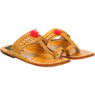 Boys Kolhapri leather chappals with flower