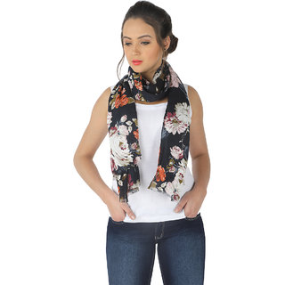 Buy Belleziya Viscose Floral Print Girls Scarves Latest Design New  Collection Cool Fashion Scarf Black, Pink, Orange Online - Get 11% Off