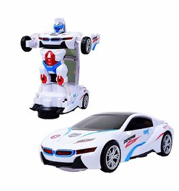 New Pinch Battery Operated Robot Race Car 2-in-1 Transform Car Toy with Bright Lights and Music (Multicolour)
