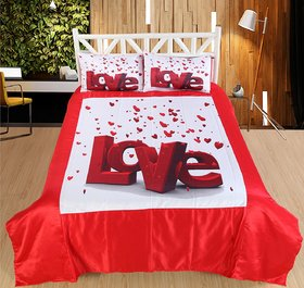 Welhouse LOVE Print Double bedsheet  2 Pillow Covers
