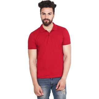 Yellow Tree Half Sleeves T-Shirt Maroon Colour Coller High Quality T-Shirt For Men's  Boy's 01
